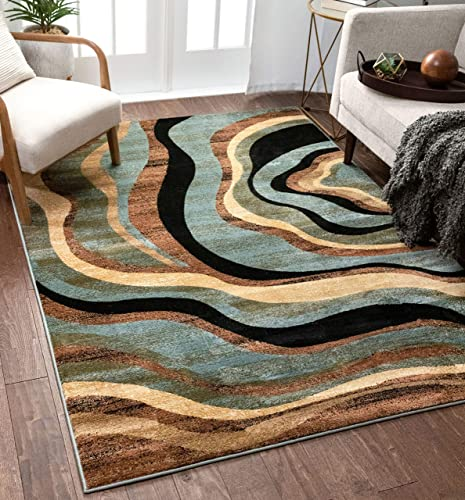 Hudson Waves Blue Brown Geometric Modern Casual Area Rug 8×10 8×11 7'10″ x 9'10″ Easy to Clean Stain Fade Resistant Shed Free Abstract Contemporary Natural Lines Multi Soft Living Dining Room Rug