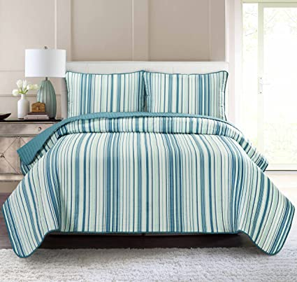 amazon com pur luxe stripe quilt set full queen striped teal