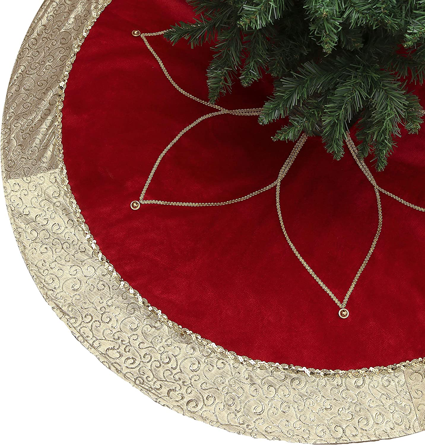 Valery Madelyn 48 inch Luxury Red Gold Christmas Tree Skirt Decorations with Flower Design, Themed with Christmas Tree Decor (Not Included)