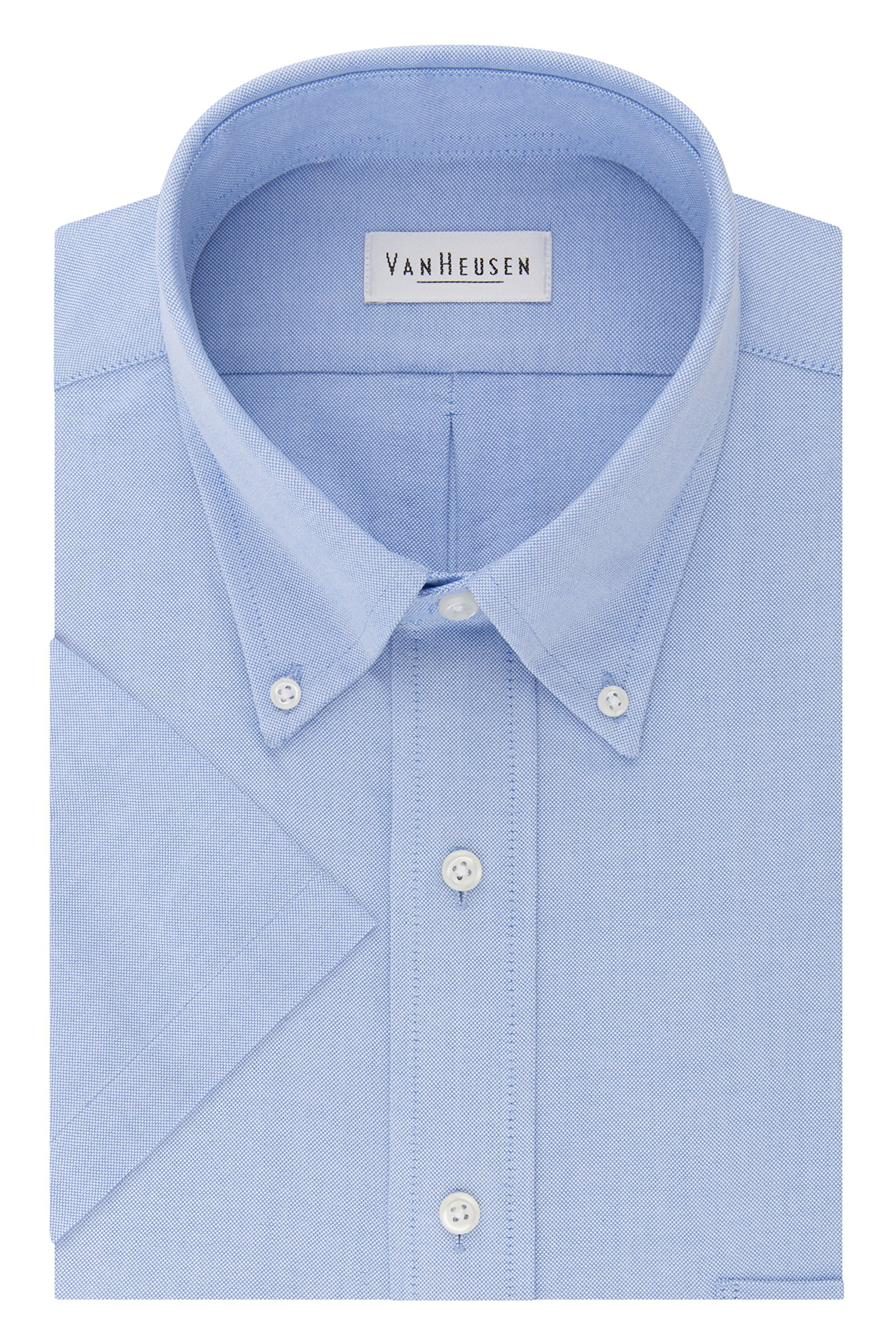 Van Heusen Men's Short Sleeve Oxford Dress Shirt, Blue, Small