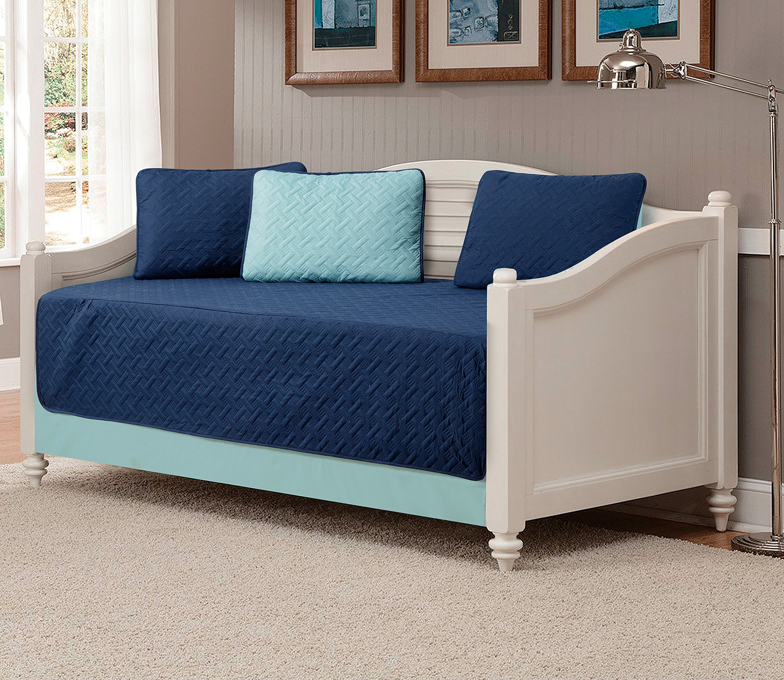 Mk Collection 5pc Modern Bedspread Day Bed Solid Embossed Reversible Navy Blue/Light Blue New