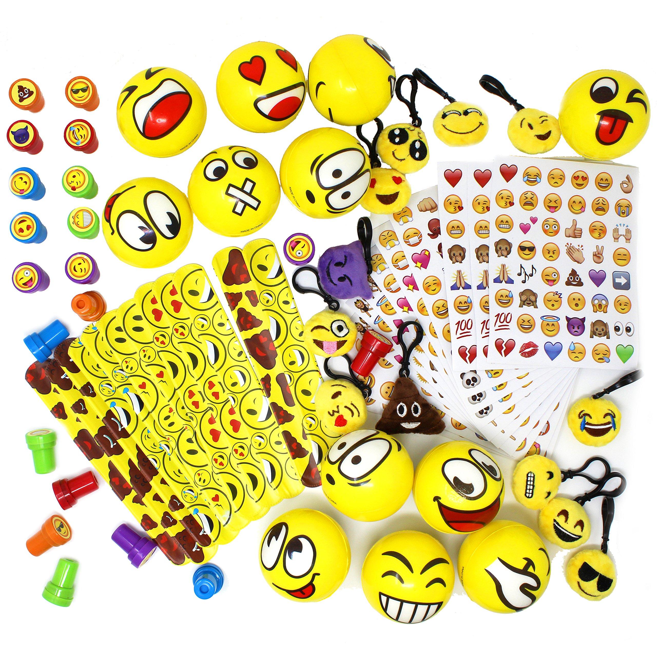 Joyin Toy 68 Pieces Assorted Kids Emoji Birthday Party Supply Children Emoji Stress Relief Toys