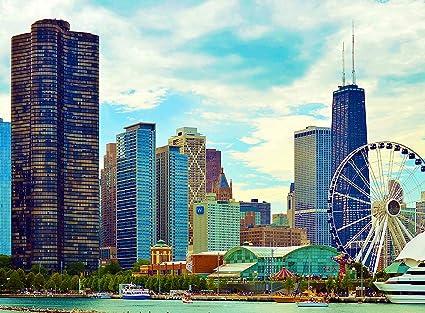 Amazoncom Adult Jigsaw Puzzle Ferris Wheel Navy Pier Chicago