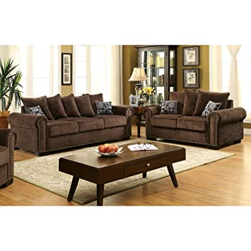 Incroyable Furniture Of America Pana Transitional 2 Piece Brown Chenille Sofa Set