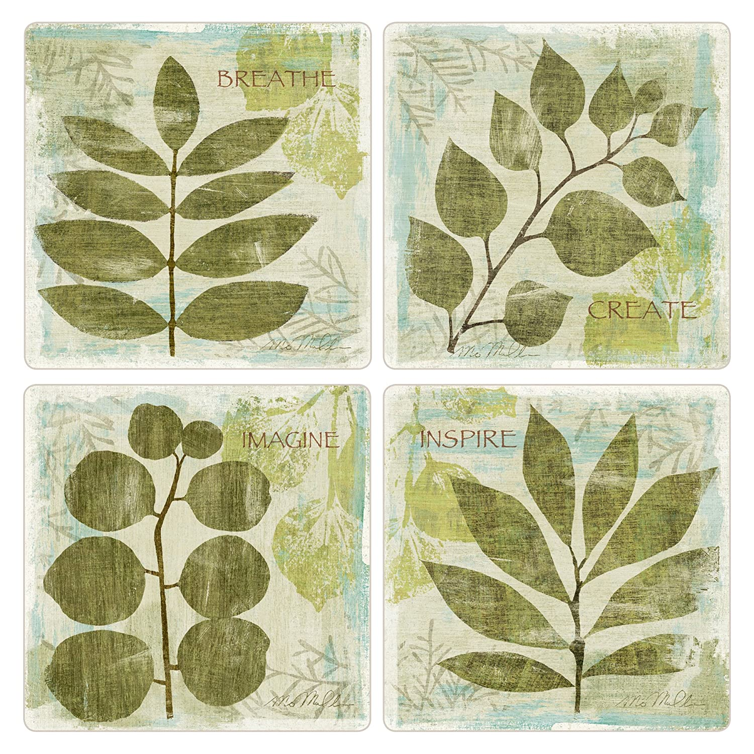 CoasterStone AS2585 Woodland Thoughts Absorbent Coasters, 4-1/4-Inch, Set of 4 by CoasterStone