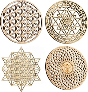 "ZenVizion 5.31"" Sacred Geometry Set 3, Flower of Life, Sri Yantra (Round), 64 Star Tetrahedron, Torus Wall Art, Home Decor Meditation Symbol, Yoga Hanging, Laser Cut Wooden Wall Sculpture, Car Hanger"