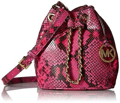 85d8bdce347d Michael Kors Rasberry Embossed Leather Frankie Drawstring Crossbody:  Handbags: Amazon.com