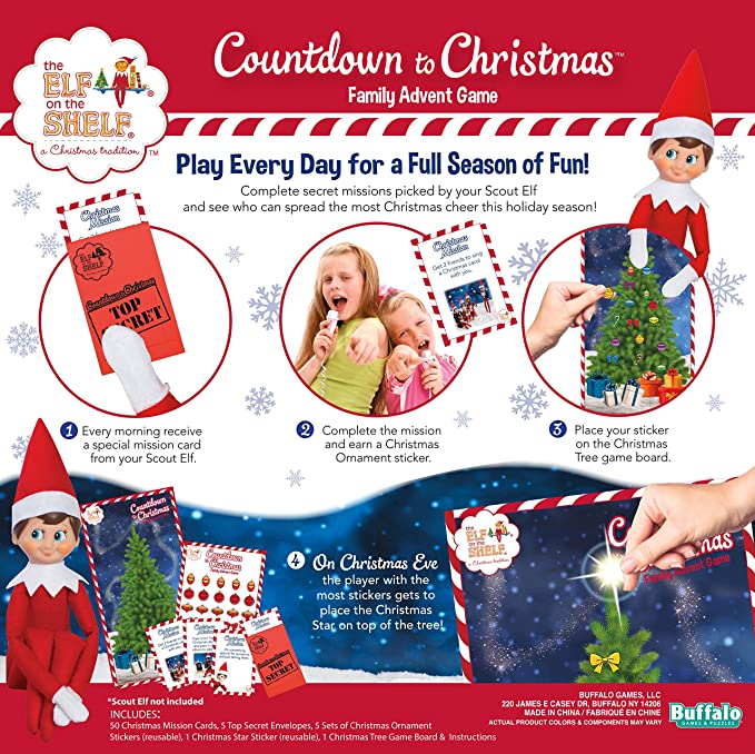 amazoncom buffalo games elf on the shelf countdown to christmas family advent game toys games - Family Games To Play At Christmas
