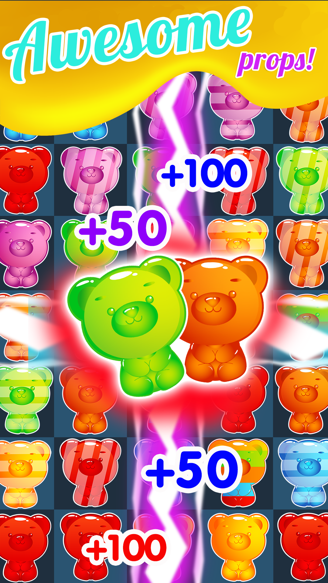 Candy Gummy Bears - Soda Match 3 Puzzle Games Free! Play