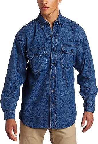 Key Apparel Clave Ropa Camisa de Manga Larga Tela Vaquera Lavar de enzimas para Hombres
