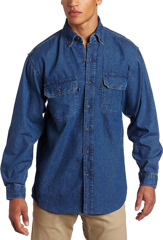 Men's Vintage Workwear – 1920s, 1930s, 1940s, 1950s Key Industries Mens Big and Tall Long Sleeve Washed Denim Shirt $33.99 AT vintagedancer.com