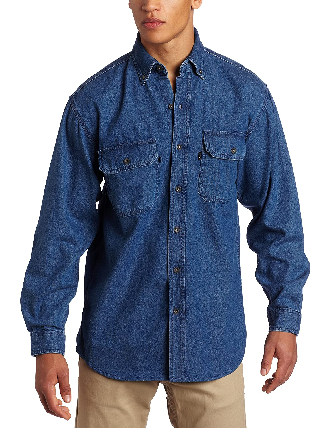 Key Apparel Men's Long Sleeve Premium Denim Enzyme Washed Shirt 542