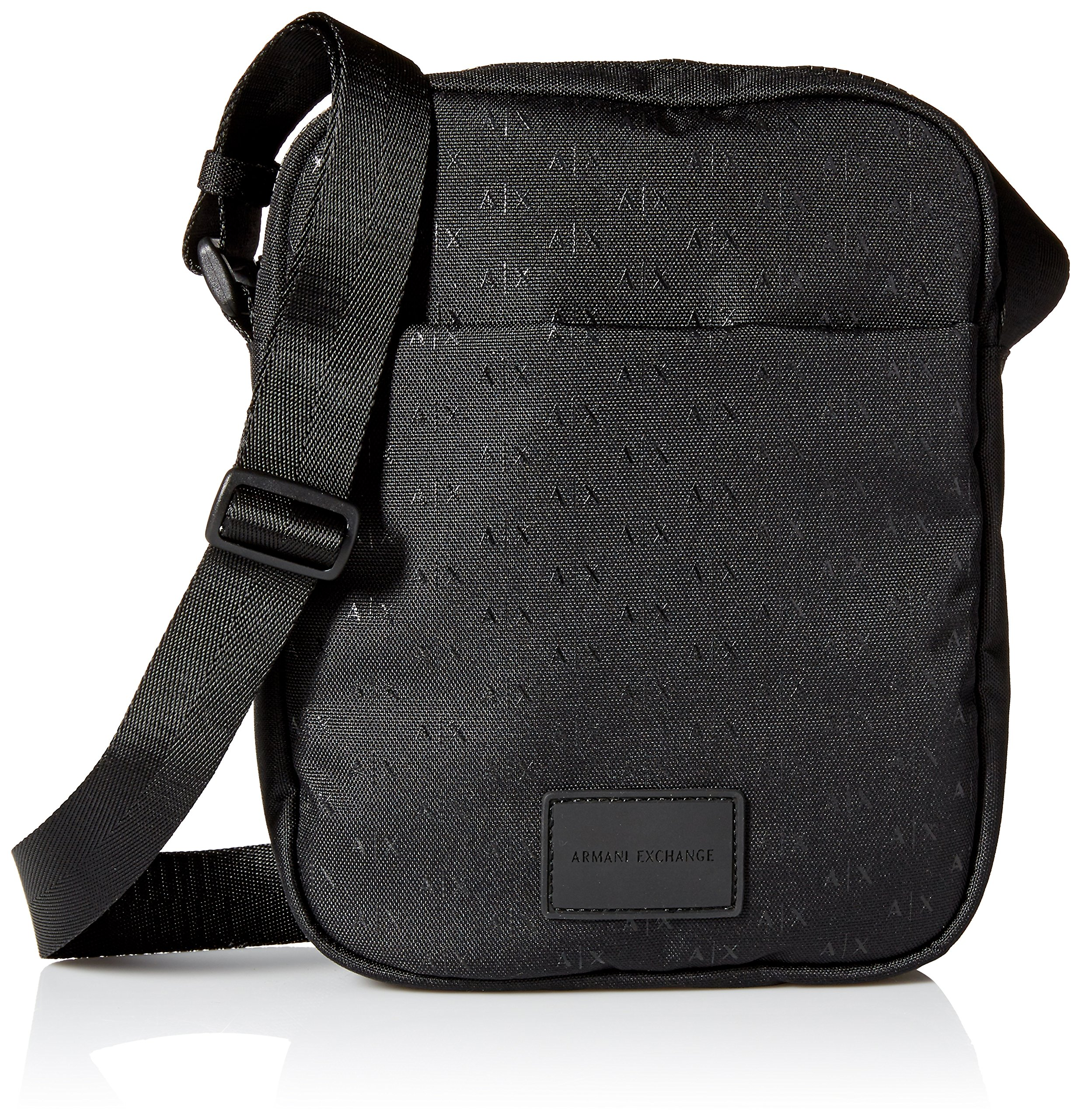 Armani Exchang Men's All Over Micro Print Logo Satchel Accessory, -nero/black, UNI