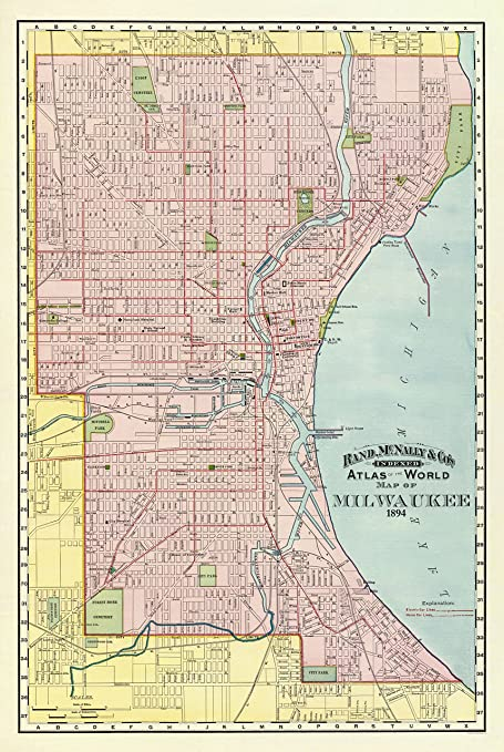 Amazon.com: Old City Map - Milwaukee Wisconsin - Rand McNally 1894 on