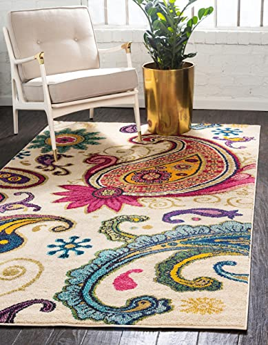 Unique Loom Estrella Collection Colorful Abstract Cream Area Rug 10 6 x 16 5