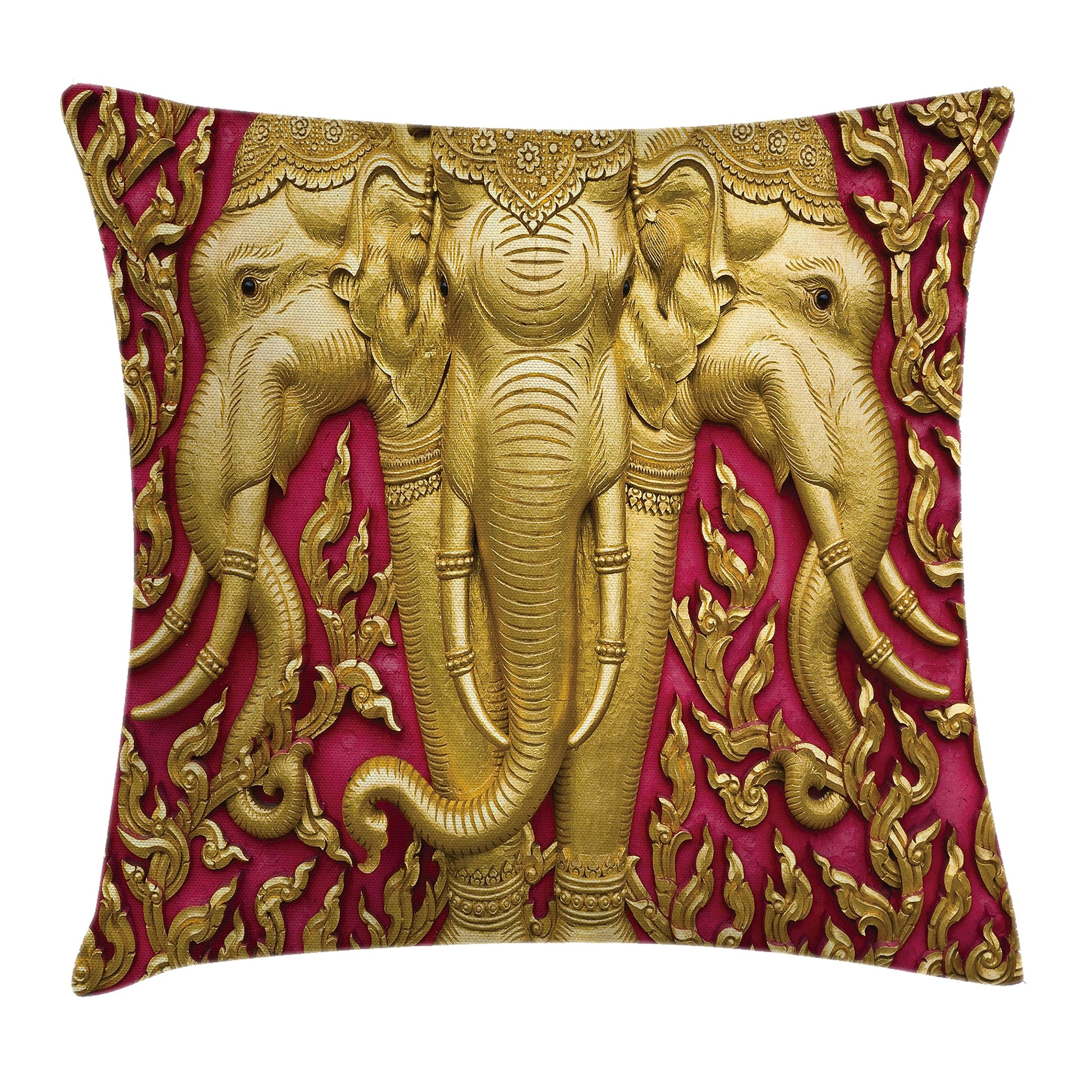 Ambesonne Elephant Throw Pillow Cushion Cover, Yellow Toned Elephant Motif on Door Thai Temple Spirituality Statue Classic, Decorative Square Accent Pillow Case, 18 X 18 Inches, Fuchsia Mustard by Ambesonne