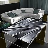 Tappeto con design moderno a onde, a pelo corto, per soggiorno, diversi colori e misure, nero, 160 x 230 cm