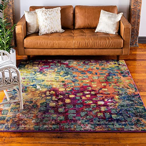 Unique Loom Jardin Collection Colorful Abstract Multi Square Rug 12 2 x 12 2
