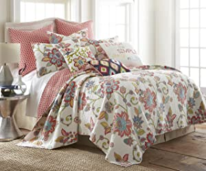 Clementine Spring King Quilt Set, Red White Multi, Cotton