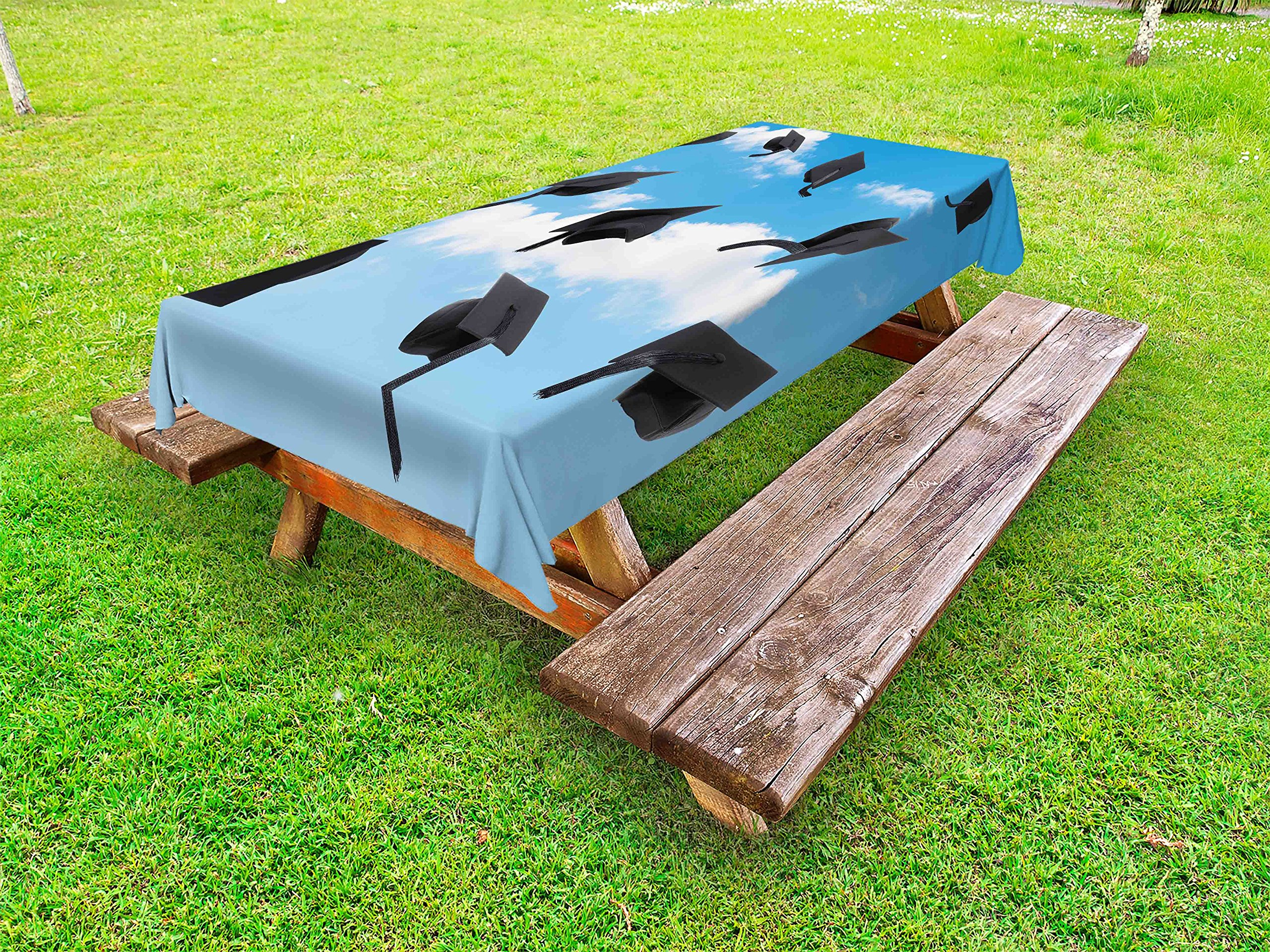 Lunarable Graduation Outdoor Tablecloth, Caps Thrown into Sky Last of The School Highschool College Ceremony Picture, Decorative Washable Picnic Table Cloth, 58 X 104 inches, Blue Black
