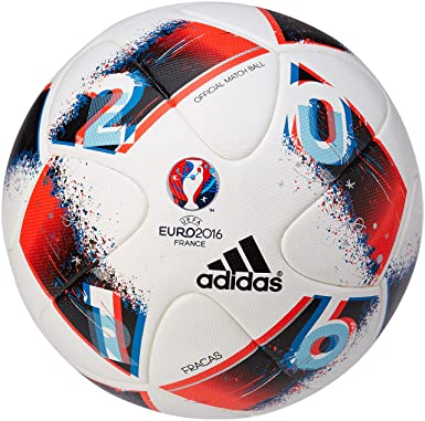 c3c57b6af4164 adidas UEFA Euro 2016 Omb Ballon de Match Officiel Homme, White/Bright  Blue/Solar Red/Silver Metallic, Taille 5: Amazon.fr: Sports et Loisirs