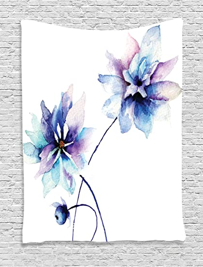 1a0ab71e1d52 Ambesonne Flower Tapestry Watercolor Decor, Elegant Flower Drawing with  Soft Spring Colors Retro Style Floral