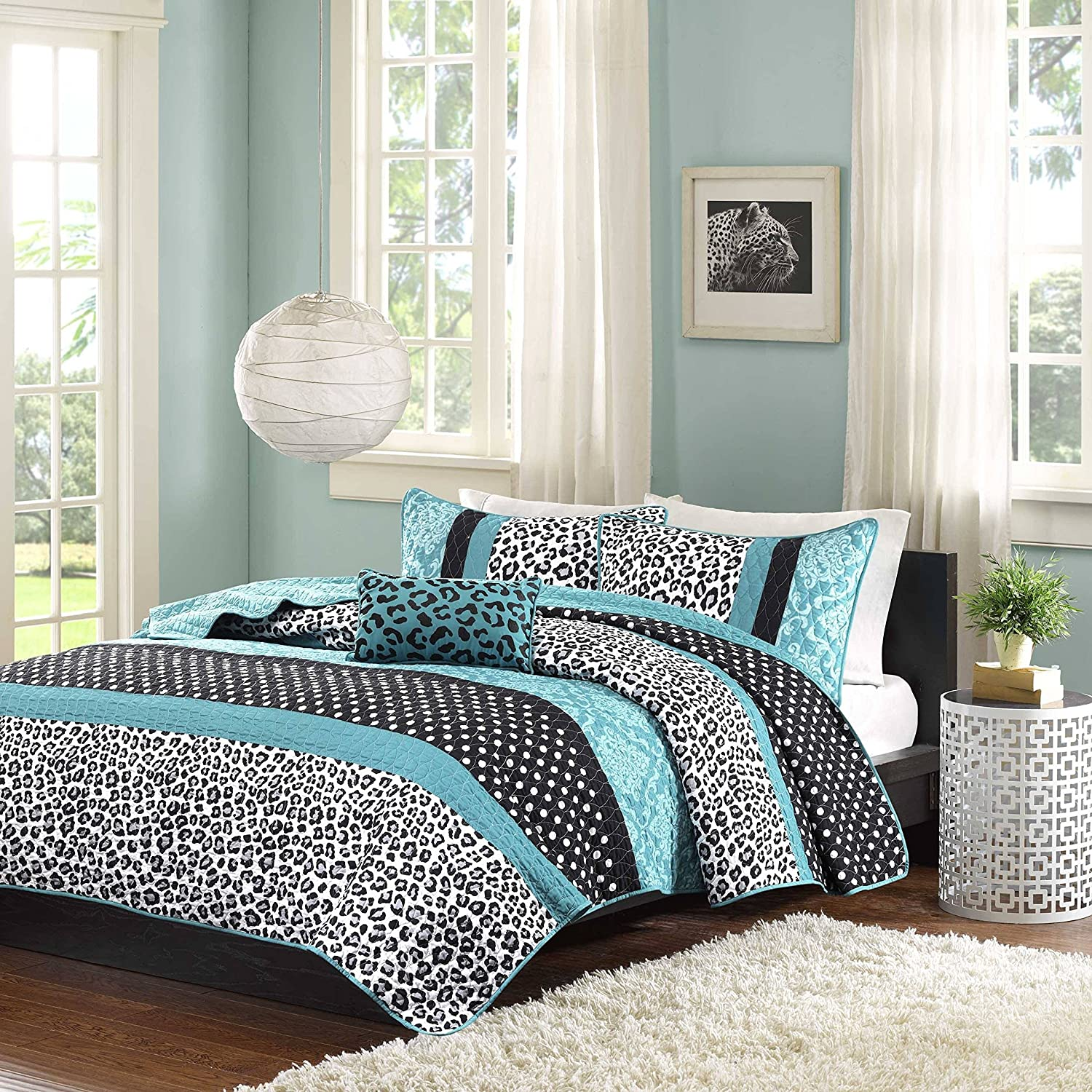 4 Piece Kids Teal Black Animal Print Theme Full Queen Coverlet Set, Jaguar Cheetah Pattern Bedding Polka Dot Damask White Leopard Print Jungle Wild Life Motif, Polyester
