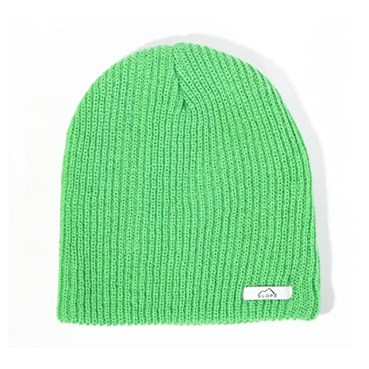 b3bac959545 Amazon.com  Slope Men s Daily Beanie Thin Double Ribbed Knit Beanie Lime   Clothing