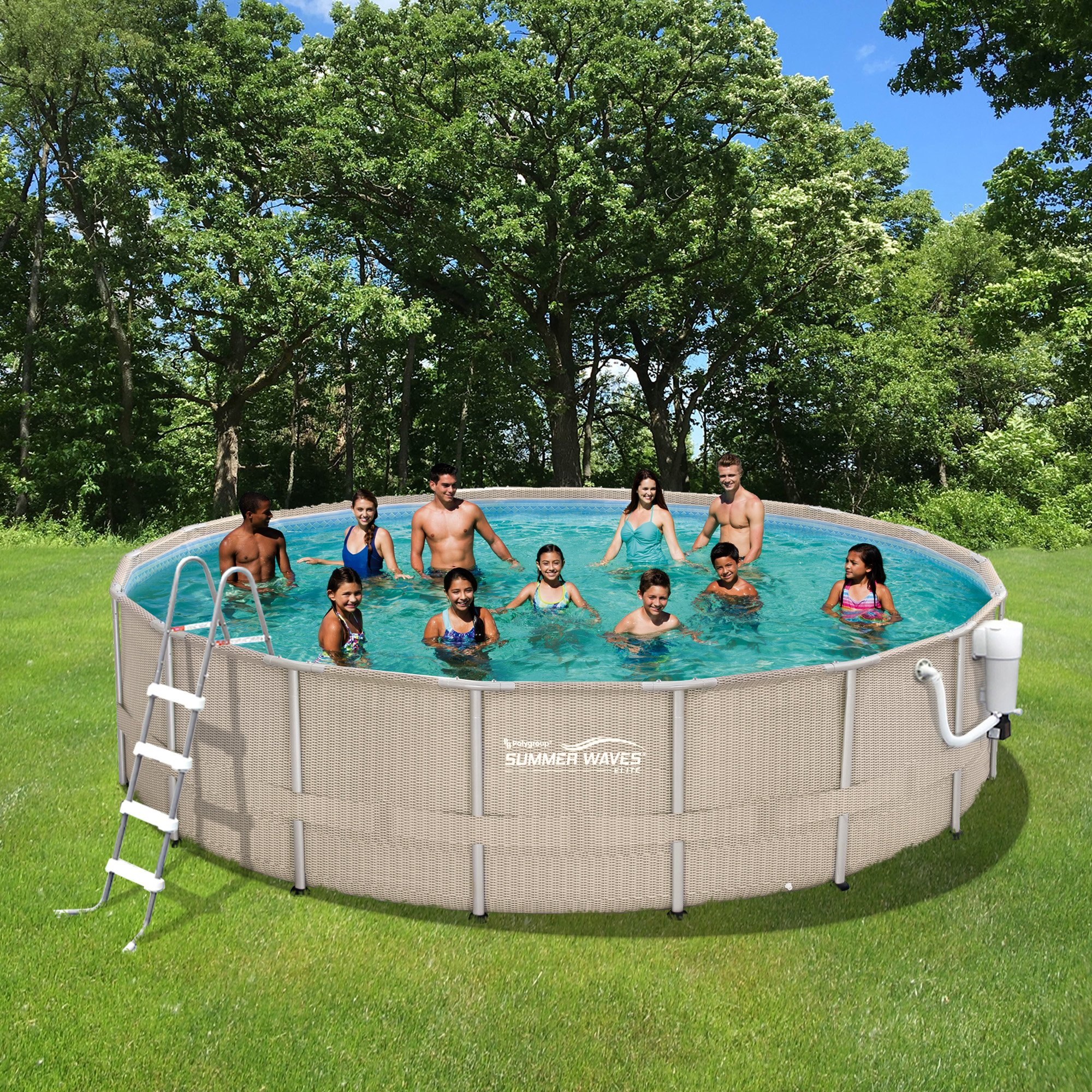 Pool Package Light Wicker 18' Round Metal Frame 52'' Deep | Summer Waves NB2232 by Summer Waves Elite