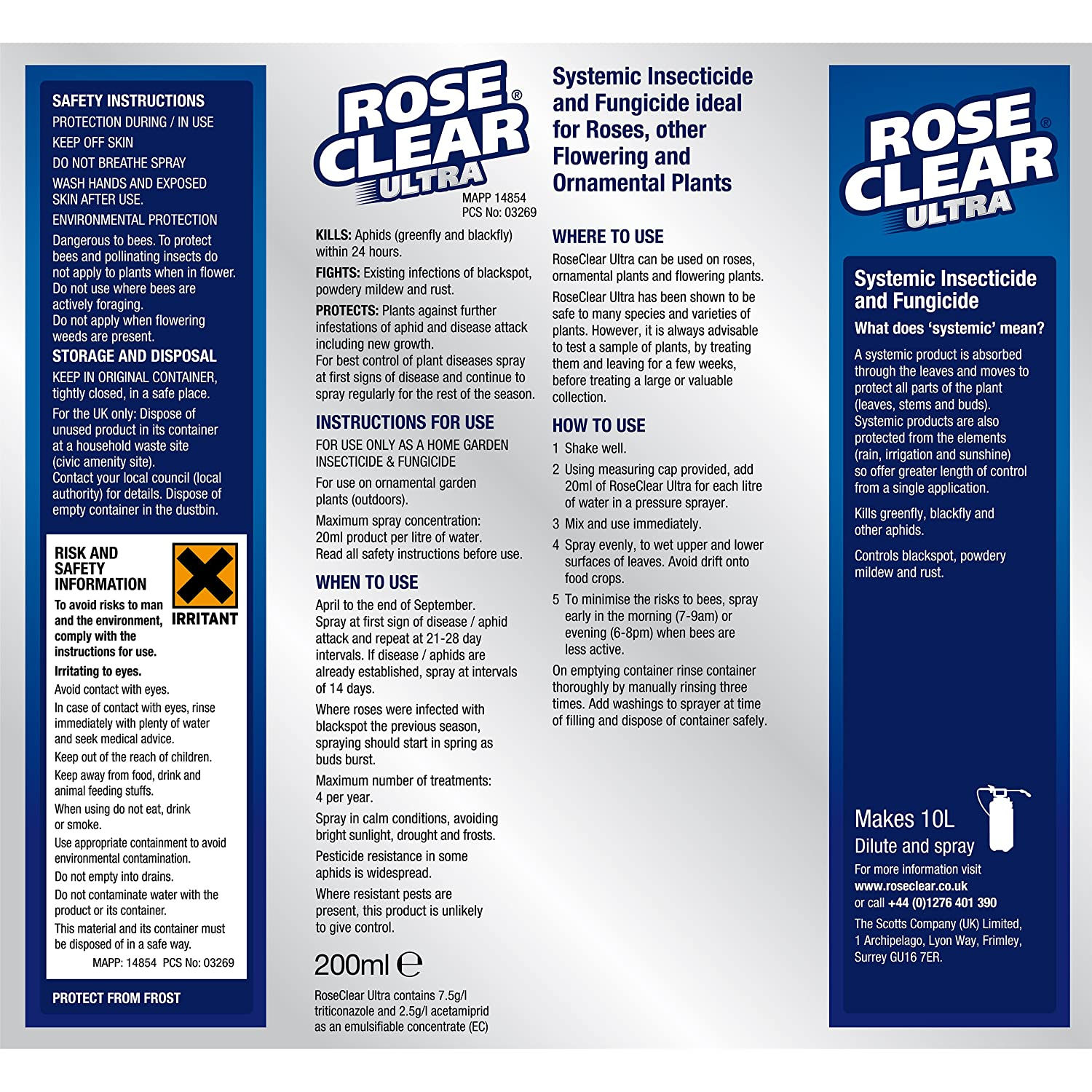 Roseclear Ultra Systemic Insecticide And Fungicide Liquid