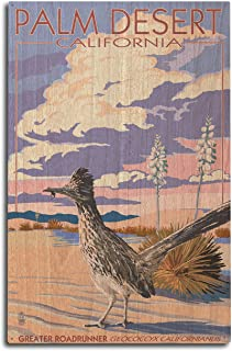 product image for Lantern Press Palm Desert, California - Roadrunner Scene (10x15 Wood Wall Sign, Wall Decor Ready to Hang)
