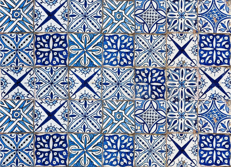 Home Decor Line CR-67215 Blue Azulejos Kitchen Panel Decal, Black ...