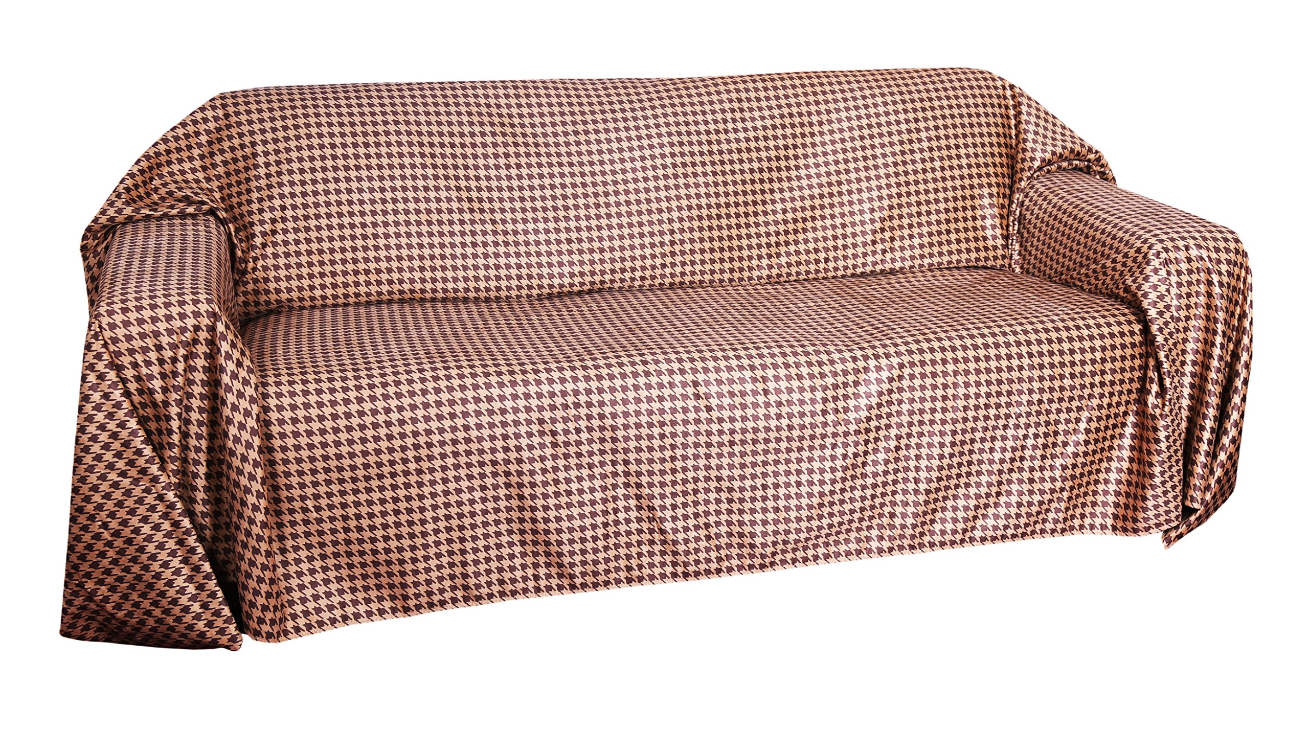 Floppy Ears Design Simple Faux Suede Couch Cover Protector (Large 3 Cushion Couch, Chocolate and Tan Houndstooth Print)
