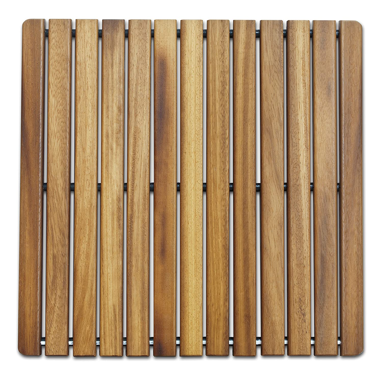Tarima 50 x 50 cm en madera de teca Alfombrilla FLEXIBLE para ducha y ba/ño