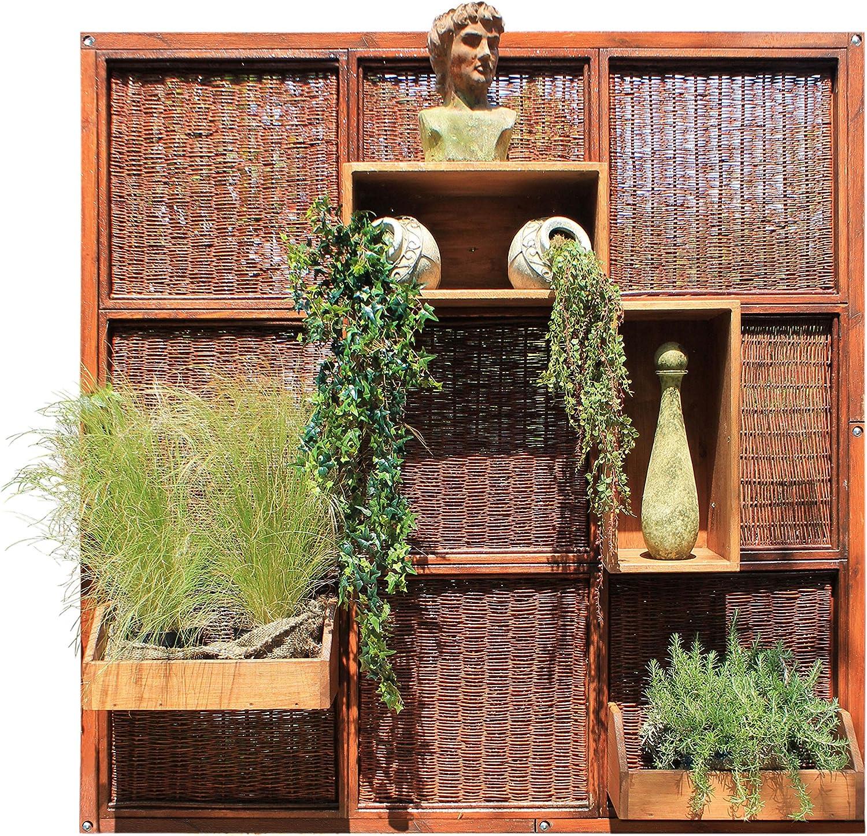 Separador de mimbre y madera de jardín de 180 x 180 cm: Amazon.es ...