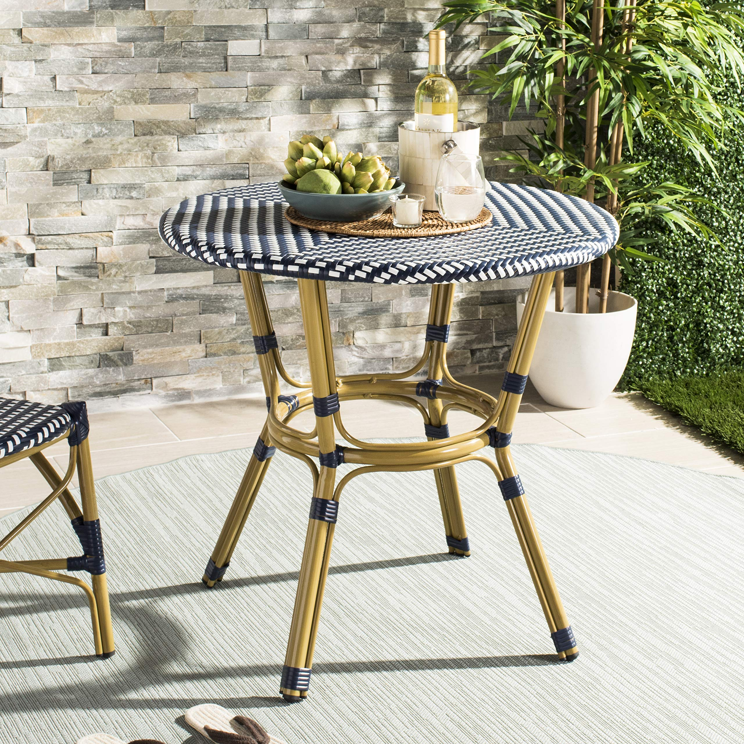 Safavieh PAT4012A Outdoor Collection Sidford Navy and White Rattan Bistro Table