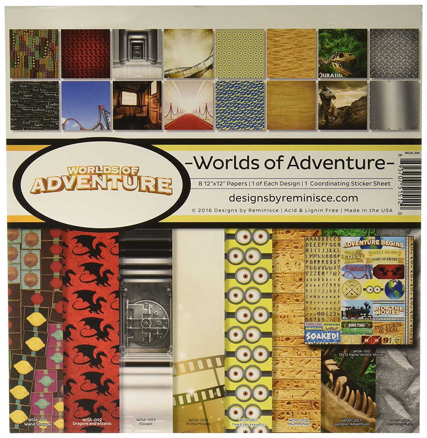 Reminisce WOA-200 Worlds of Adventure Collection Kit, 12 by 12, Multicolor 12 by 12
