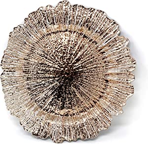 Allgala 13-Inch 6-Pack Heavy Quality Round Charger Plates-Reed Rose Gold-HD80333
