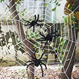 Giant Halloween Spider Web with Three Huge Realistic Looking Hairy Spiders For Best Halloween Decorations Props by Spooktacular Creations
