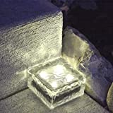 "1 Solar Clear Glass Brick Light with 4 LEDs- Warm White - 4"" x 4"""