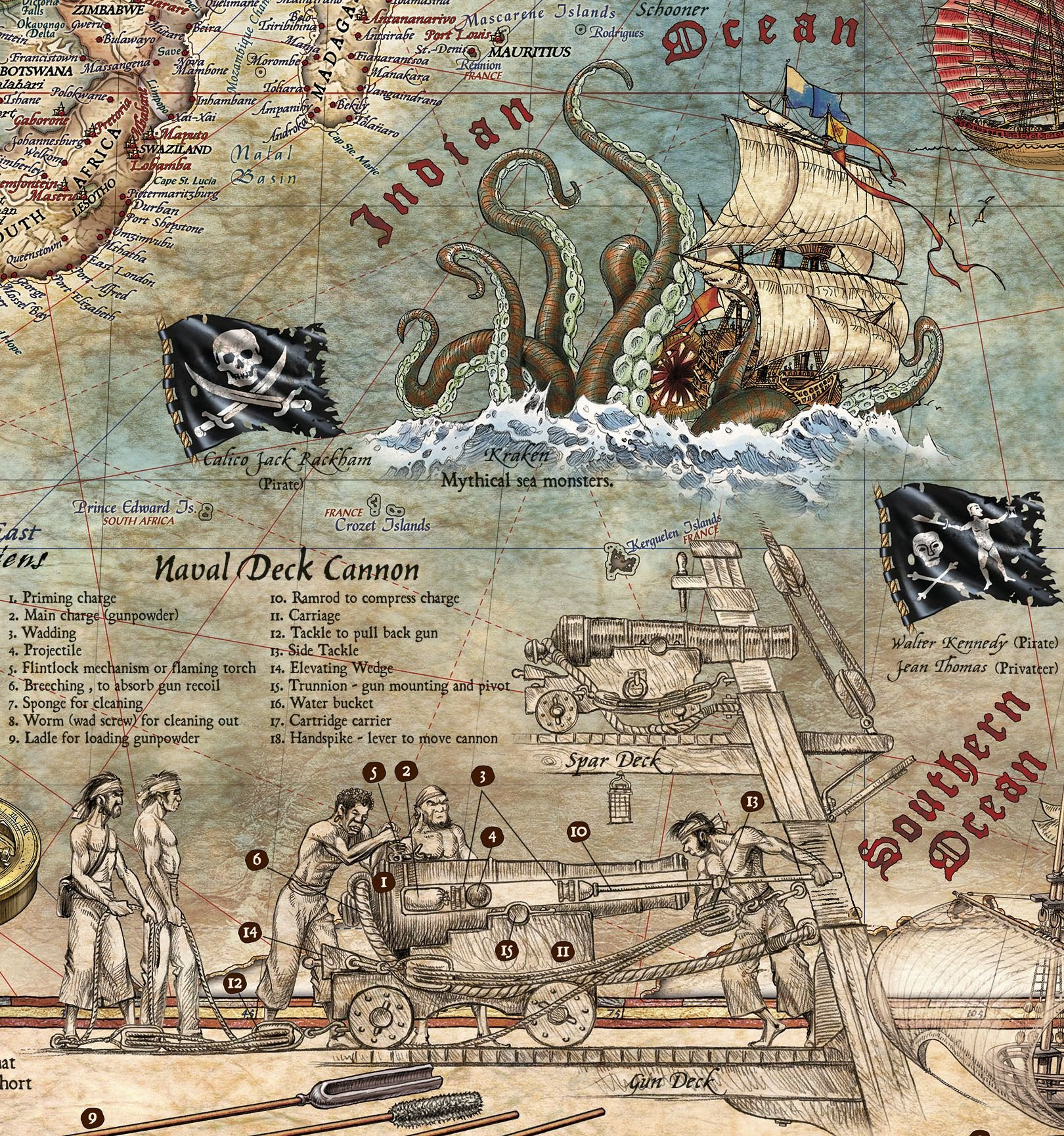 Pirate World Map.The Age Of Pirates Historical Map Poster Rajko Zigic 9781888216547