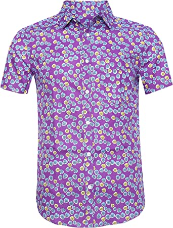 SOOPO Camisa Hawaiana Hombre Shirt Estampada de Flores Manga Corta Bolsillo Delantero Impresión De Hawaii, Ajustado y Casual, Diversos Colores y ...