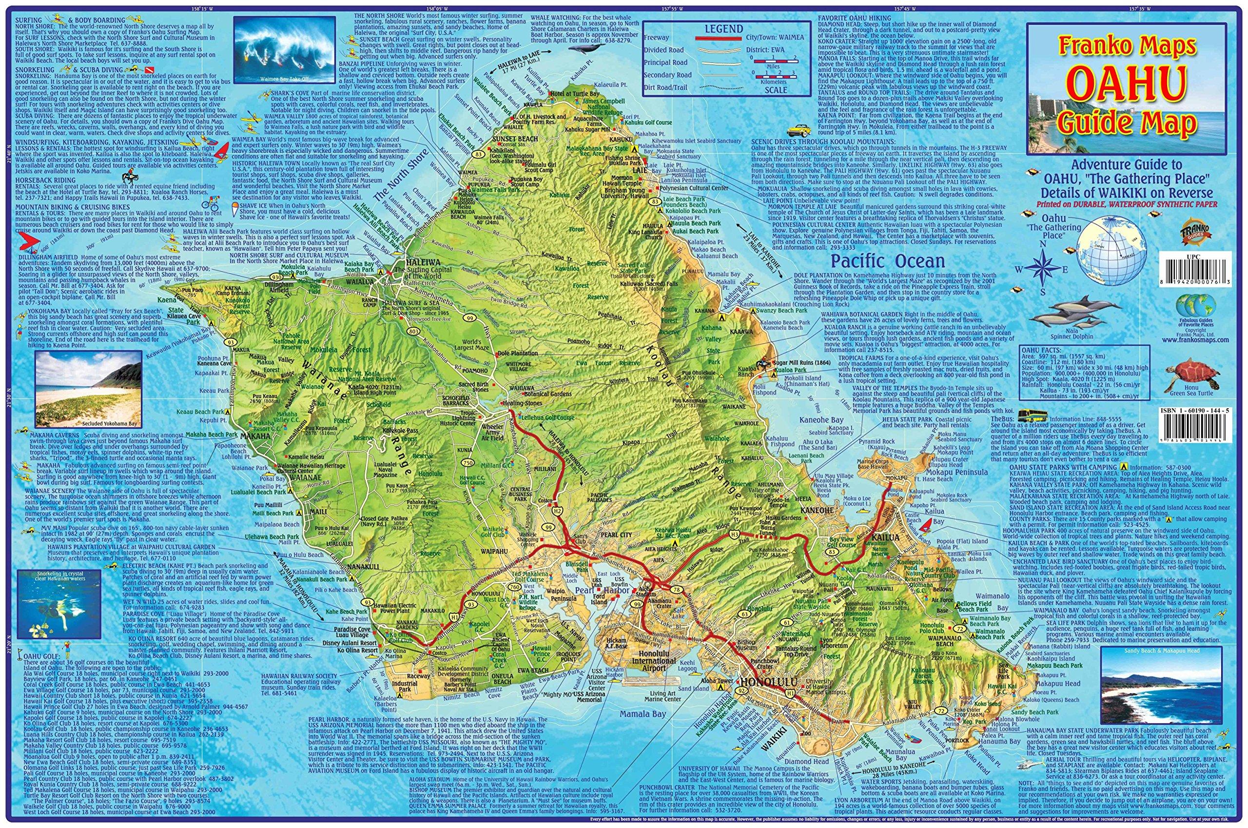 Oahu Hawaii Adventure Map Franko Maps Laminated Poster Franko Maps Ltd 9781601901569 Amazon Com Books