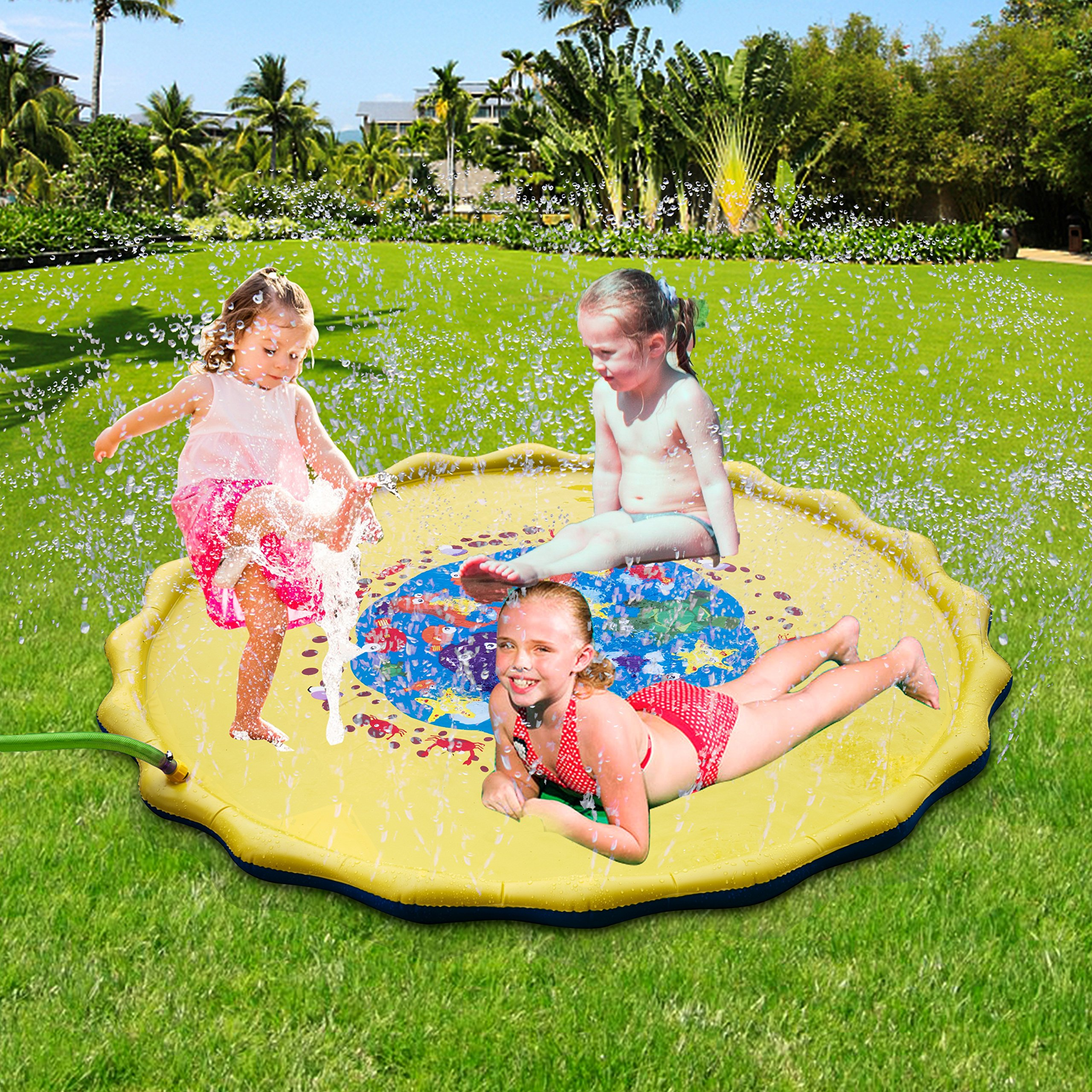 FitMaker Sprinkle and Splash Play Mat, 67 in-Diameter Sprinkle N Splash, Fill N Fun Water Mat Toy for Baby, Kid, Child