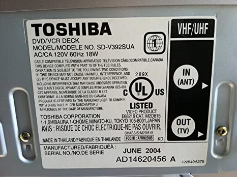 Toshiba V392sua Dvd Cd Player Vcr Video Cassette Tape Recorder Combo Set 4 Head Hi Fi Stereo Vhs Player W Cd Video Out Dolby Digital Digital Cinema Progresive W Remote Control Home Cinema