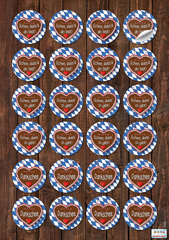 Logbuch-Verlag 48 Aufkleber bayerische Spr/üche 48 Holzklammern mit runder Scheibe Bayern Oktoberfest Deko Set blau wei/ß rot Partydeko Wiesn Geschenk