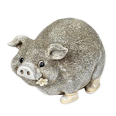 Pudgy Pals Garden Statue Pig In Rain Boots Figurine, 6 Inch (H) : Garden & Outdoor