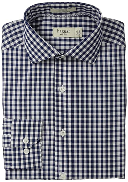 b63bfdfbcc0 Haggar Men s Gingham Fancy Poplin Long-Sleeve Fitted Shirt at Amazon Men s  Clothing store