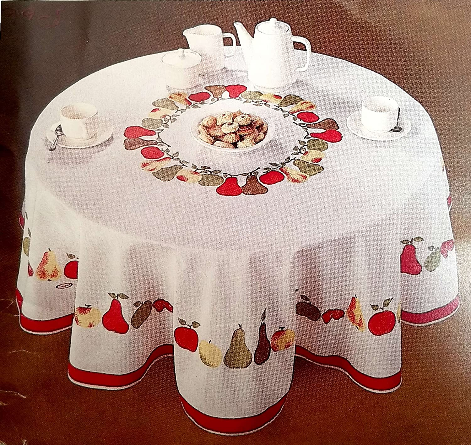 "AdonisUSA 61"" Round White Tablecloth with Fruit Design of Colorful Apples and Pears and red Rim on The Border"