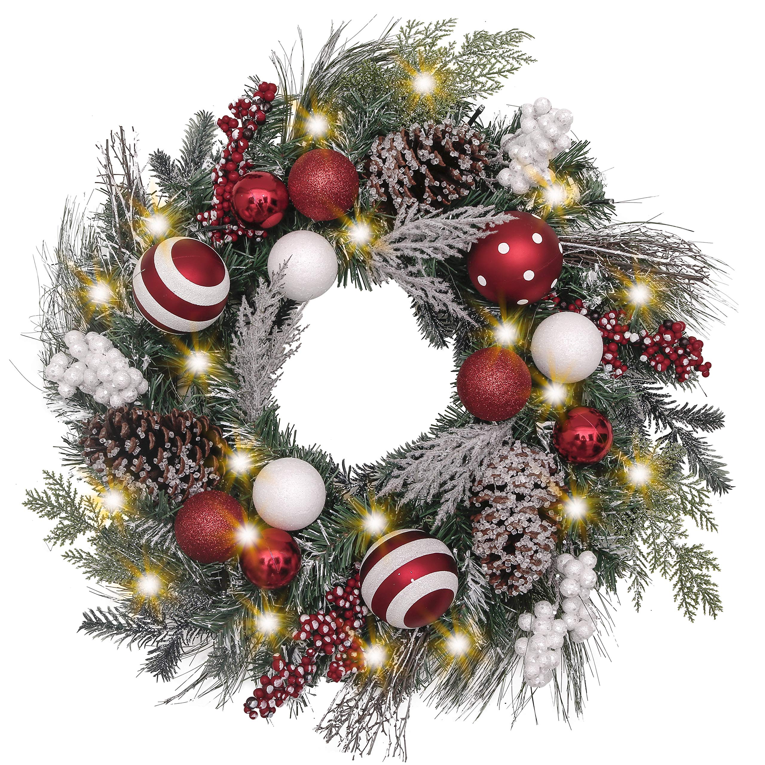 Valery Madelyn Pre-Lit 24 Inch Traditional Red White Christmas Wreath for Front Door with Ball Ornaments, Berries and Pine Cones, Battery Operated 20 LED Lights by Valery Madelyn